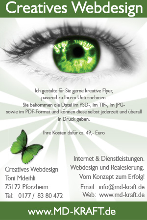 Flyer md-kraft.de - WebDesign