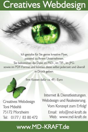 Flyer md-kraft.de - WebDesign