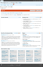 WordPress 2.5: Admin Center - Dashboard